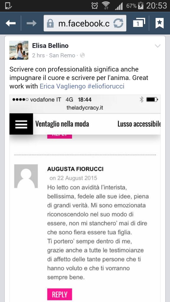 Il commento di Augusta Fiorucci alla mia intervista su theladycracy